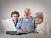 Elderly people using technology