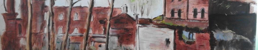 Riuny starego browaru w Myślęcinku - akryl - 2015