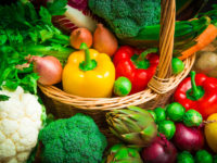 mix of season vegetables in wicker basket
