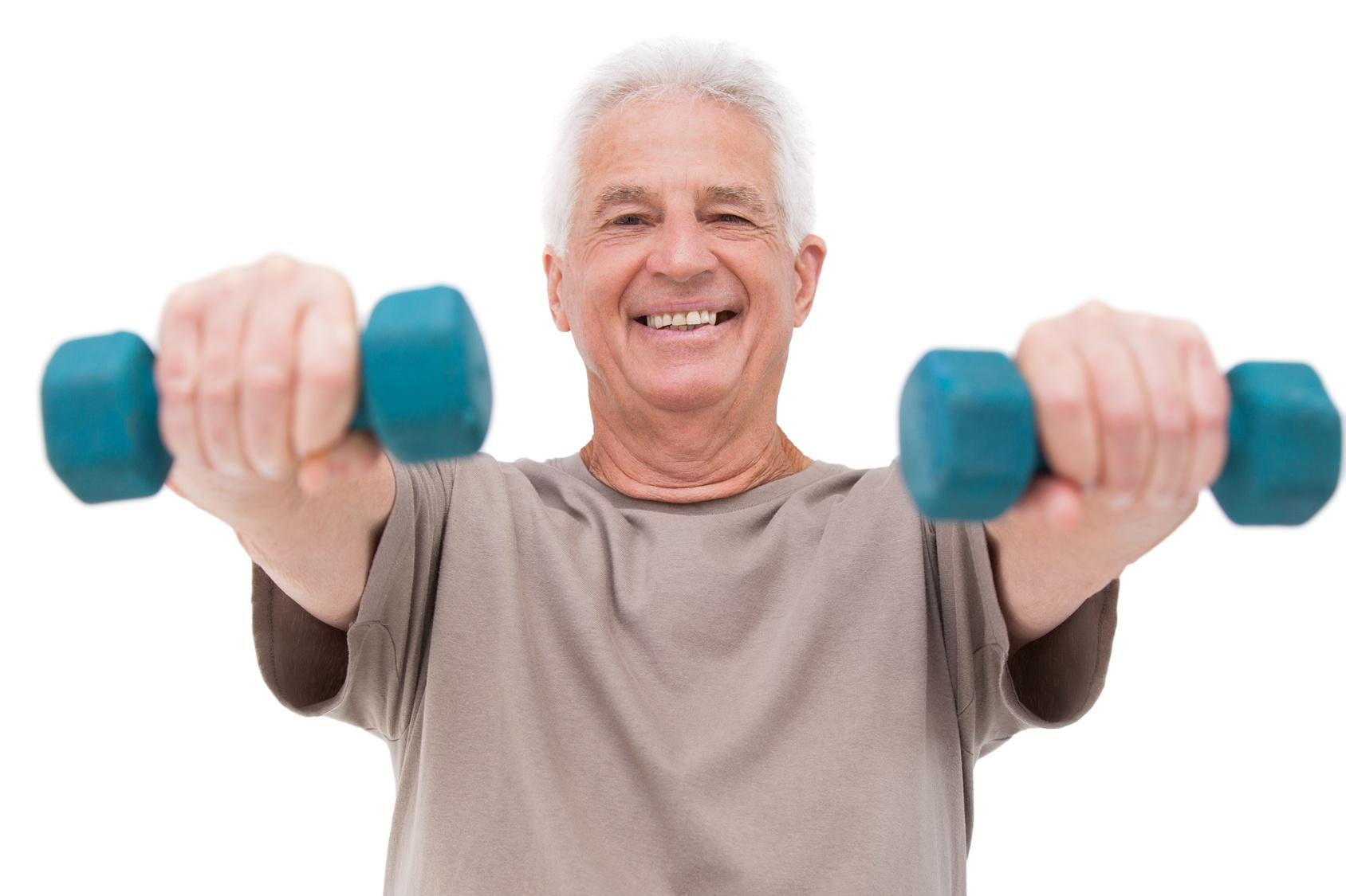 Senior man lifting hand weights