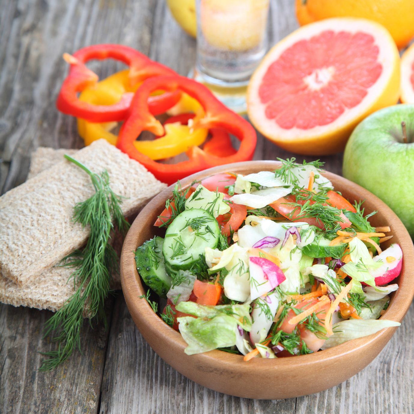 Healthy food for diet on a wooden table .